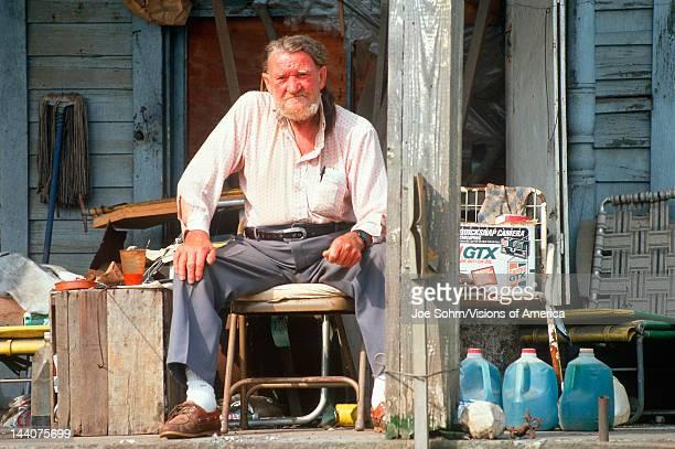 An elderly man on his front porch Appalachia VA