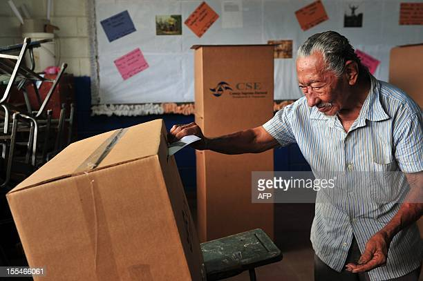 An elderly man votes in a public school in Managua during the municipal elections on November 4 2012 Nicaragans vote to elect 153 municipal mayors...