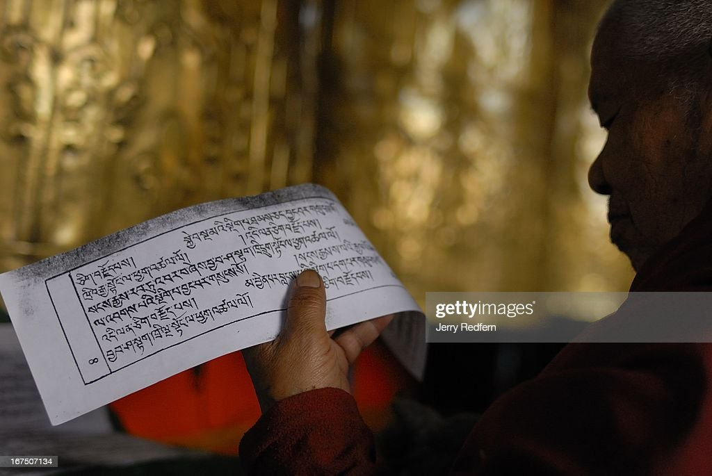 An elderly monk reads from a book of Tibetan Buddhist prayers while