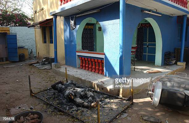 An elderly Muslim womans body whose face and throat was slashed and then set on fire lies outside of her home March 2 2002 in Ahmadabad India Her...