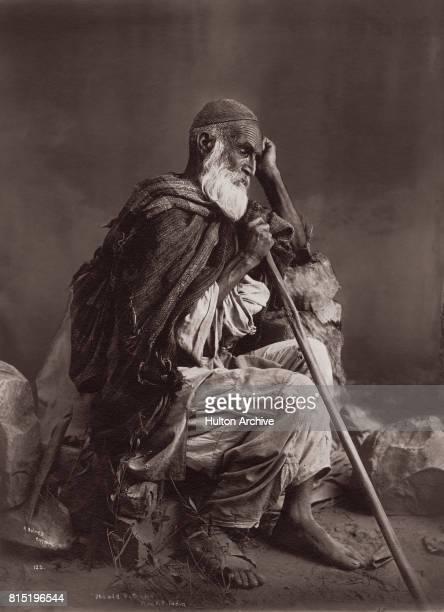 An elderly Pathan man Northwest Frontier Province British India 1915 Vintage Silver Gelatin Print