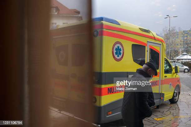 An elderly person leaves the vaccination centre after receiving a vaccine on February 11, 2021 in Kranj, Slovenia. Slovenia plans to vaccinate 5% of...