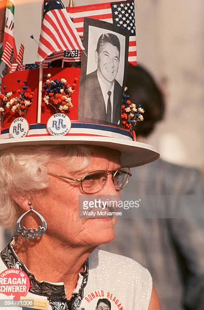 An elderly Republican delegate wears pins and photos for Ronald Reagan at the 1976 Republican National Convention