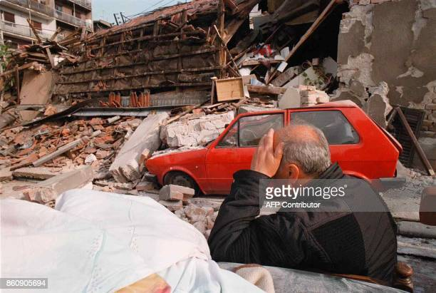 An elderly resident is devastated Friday 30th April 1999 after his and the homes of four other families are totally destroyed following the latest...