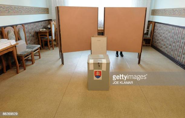 An elderly Slovak woman fills out her ballot for the elections of the European Parliament at a polling station in northern Slovak village of Lendak...