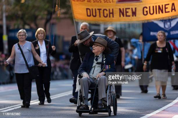 An elderly veteran is pictured during the ANZAC day March on April 25 2019 in Sydney Australia Australians commemorating 104 years since the...
