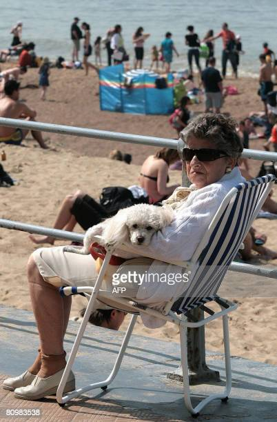 An elderly woman and her dog sit on the promenade near the beach in Oostende on May 4 2008 AFP PHOTO BELGA PHOTO HENK DELEU