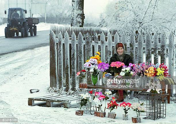 An elderly woman brings a muchwelcome colourful warmth to an otherwise bleak monochrome scene as she sets up an improvised flower stall next to the...