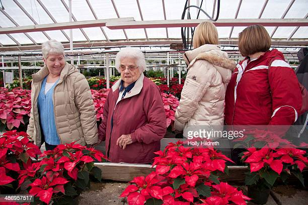 An elderly woman enjoys an outing to a greenhouse with her daughters and 2 of her granddaughters to look at poinsettias