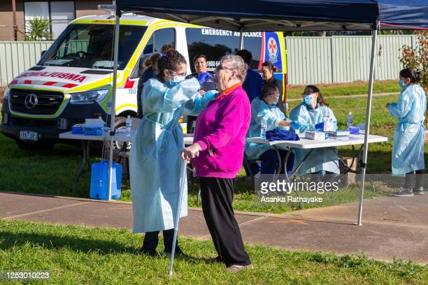 An elderly woman is tested at a pop-up clinic during a COVID-19 testing blitz in the suburb of Broadmeadows on June 28, 2020 in Melbourne, Australia....