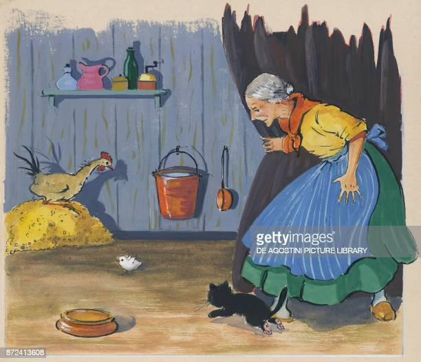 An elderly woman with a cat a rooster and a chick children's illustration drawing
