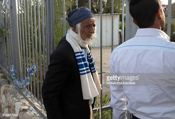 An elderly Yemeni Jew arrives at an immigration centre in the Israeli city of Beersheba on March 21 2016 following a secret rescue operation to...