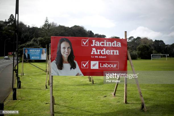An election billboard for Jacinda Ardern is pictured on August 2 2017 in Auckland New Zealand Jacinda Ardern was elected unopposed as new Labour...