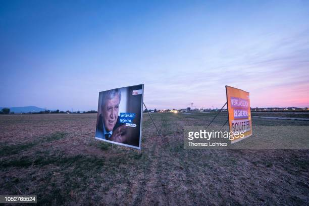 An election billboard that shows the prime minister of Hesse and lead candidate for the German Christian Democrats in Hesse state elections Volker...