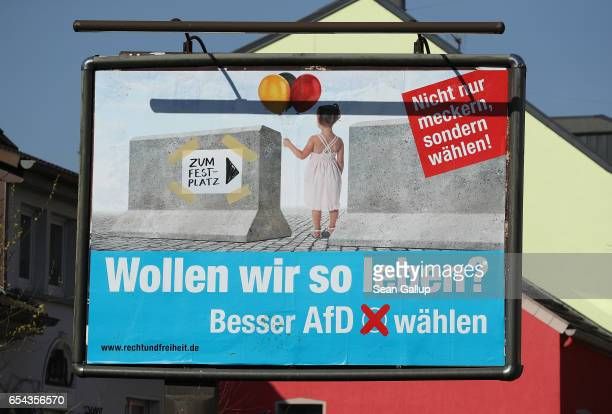 An election campaign billboard for the rightwing populist Alternative for Germany political party stands on March 16 2017 in Voelklingen Germany The...