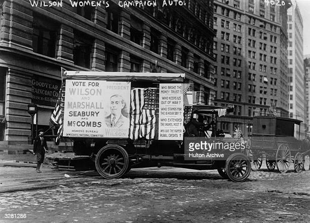 An election campaign car backing the incumbent Woodrow Wilson for President in New York