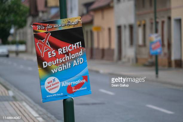 """An election campaign poster of the right-wing Alternative for Germany political party that reads: """"Enough! Germany votes for the AfD"""" on May 8, 2019..."""