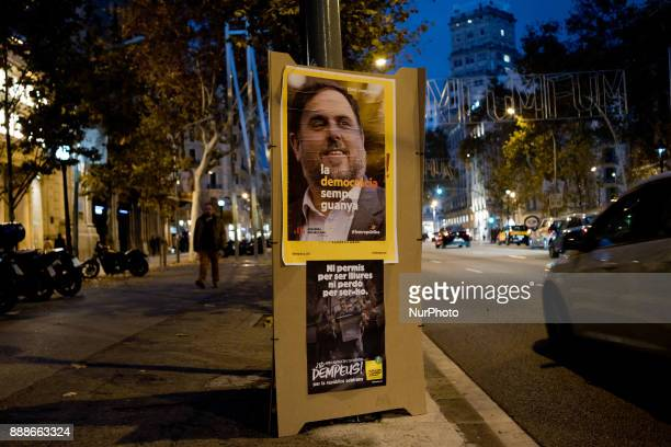An election campaign poster showing former regional minister and leader of ERC party Oriol Junqueras on 8 December 2017 in Barcelona Spain ahead of...