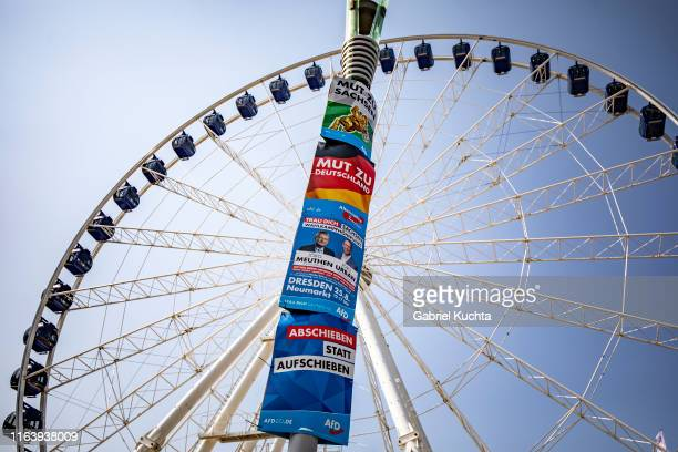 An election campaign postera for Afd party are hung on a street lamp in Dresden Germany 25 August 2019 The 2019 Saxony state election will be held on...