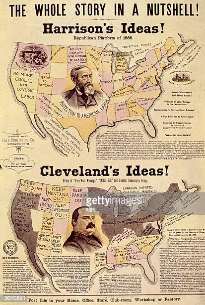 An election guide to the different policies of the Democratic President Grover Cleveland and his Republican challenger Benjamin Harrison