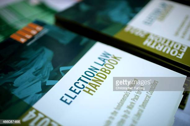 An election law handbook is seen on display at the Liberal Democrat party's spring conference on March 13 2015 in Liverpool England This is the last...