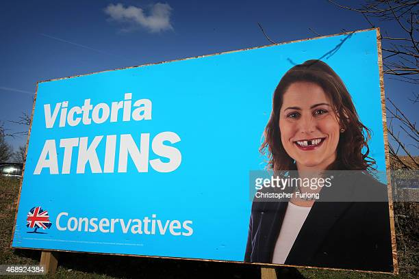 An election poster for Victoria Atkins the Conservative candidate for Louth and Horncastle is defaced on April 8 2015 in Louth United Kingdom Britain...