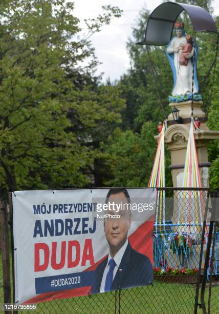 An election poster of Andrzej Duda the current President of Poland and a candidate for the Presidential Election 2020 seen outside Krakow On...