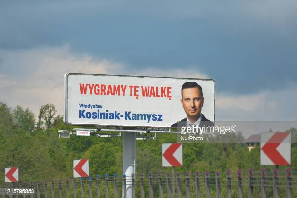 An election poster of Wladysaw KosiniakKamysz from the Polish People's Party a candidate for the Presidential Election 2020 with The Polish Coalition...