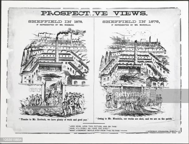 An election poster or handout laying out the 'Prospective Views' of Sheffield employment following the election of Mr Roebuck or Mr Mundella, 1868-9...