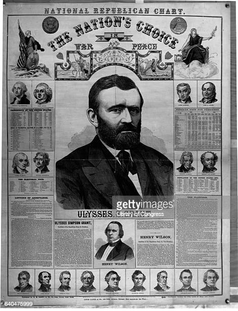 An election poster presents the 1872 Republican Presidential and Vice Presidential nominees Ulysses Grant and Henry Wilson.