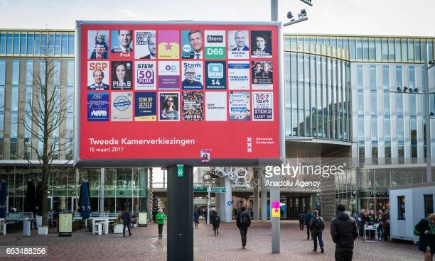 An electoral poster is seen on a billboard during the second Chamber elections outside of the Amsterdam Bijlmer Arena Stadium in Amsterdam...