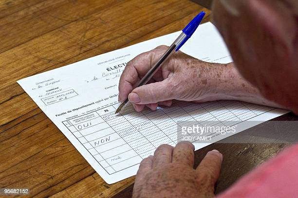 An electoral worker counts ballots in the polling station of Cayenne on the French South American territory of Guiana on January 10 for the...