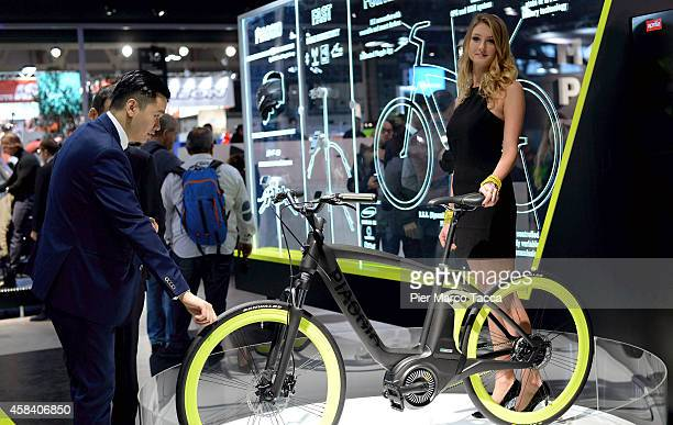 An electric bike Piaggio is displayed during the EICMA 72th International Motorcycle Exhibition on November 4 2014 in Milan Italy