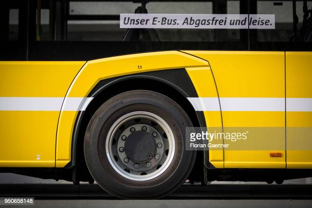 An electric bus is pictured on April 24 2018 in Berlin Germany