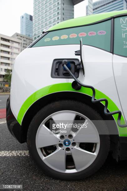 An electric car is seen charging on August 30, 2020 in Warsaw, Poland.