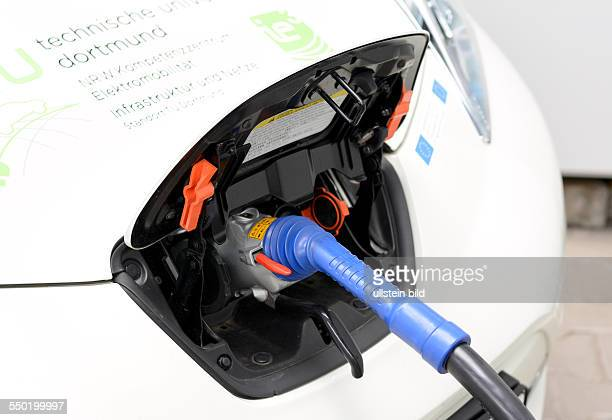 An electric car Nissan Leaf is charged with electricity at Technical University Dortmund