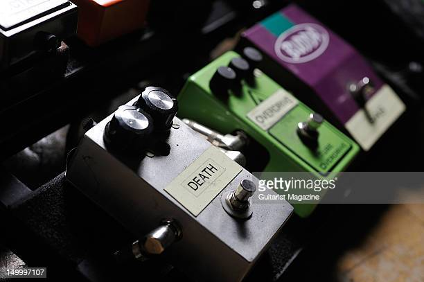 An electric guitar effects pedal board belonging to the members of American rock band Black Stone Cherry during a shoot for Guitarist Magazine...