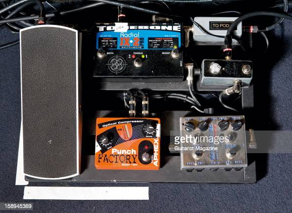 an electric guitar effects pedal board owned by american jazz news photo getty images. Black Bedroom Furniture Sets. Home Design Ideas