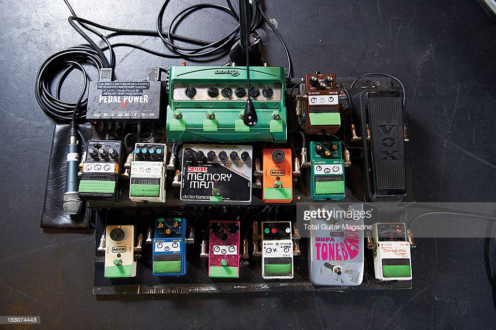 an electric guitar effects pedal board owned by grant nicholas of news photo getty images. Black Bedroom Furniture Sets. Home Design Ideas