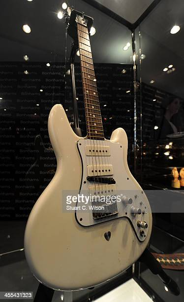 An electric guitar which belonged to The Grateful Dead's guitarist Jerry Garcia on display at Bonham's Auction House on December 12 2013 in London...