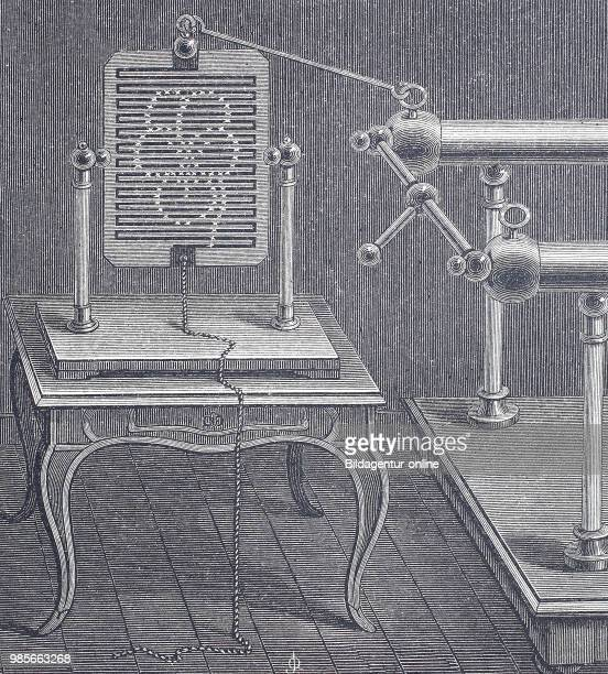 An electric lightning board technology industrial product from the year 1880 digital improved reproduction of a woodcut from the year 1880