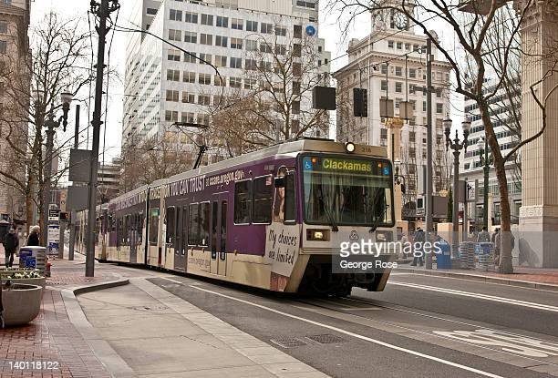 An electric public transit train moves through Pioneer Square on February 11 2012 in Portland Oregon Portland has embraced its national reputation as...