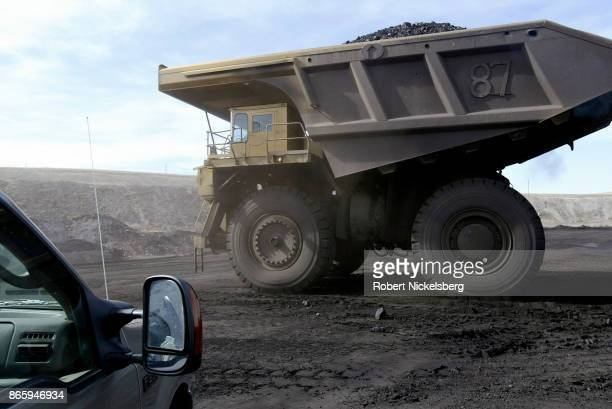 An electric shovel operator loads 200 tons into a coal hauling truck at the Buckskin Coal Mine in Gillette Wyoming May 5 2004 Owned by the Kiewit...