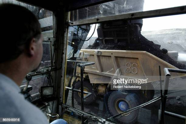An electric shovel operator loads a coal hauling truck with 200 tons of coal at the Buckskin Coal Mine 12 miles north of Gillette Wyoming May 6 2004...