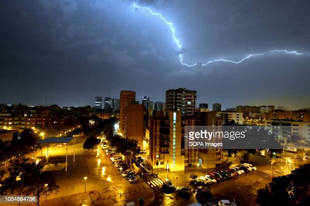 L´HOSPITALET BARCELONA SPAIN An electric storm with lightning seen in the city of L'Hospitalet