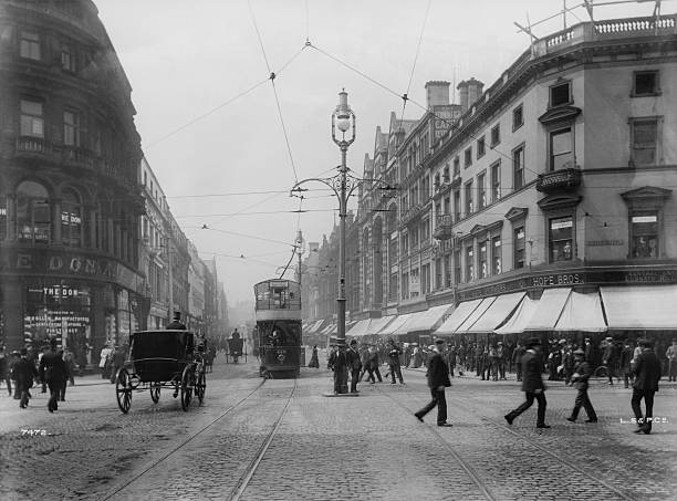 An electric tram on Lord Street, central Liverpool,...