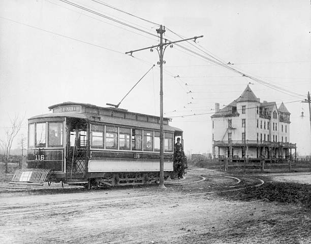 An electric tram on Robinson and Broad Street in Richmond,...