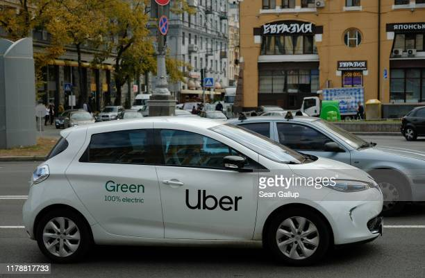 An electric Uber car drives in the city center on October 03, 2019 in Kiev, Ukraine. Uber has established itself firmly in Kiev and is now facing...