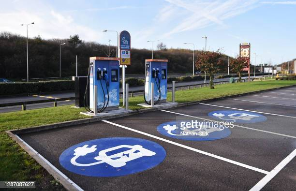 An electric vehicle charging pod point is seen on November 22, 2020 in Stoke-on-Trent, England. The UK Government released details of its ten point...