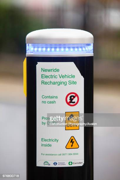 An electric vehicle re charging Juice Point in Westminster London UK